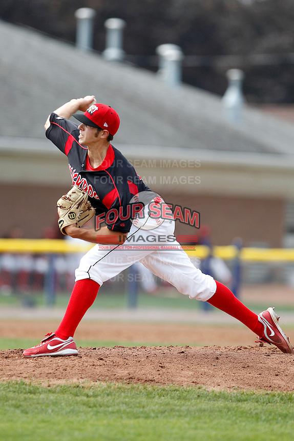 Batavia Muckdogs pitcher Sam Gaviglio #11 delivers a pitch during a game against the Auburn Doubledays at Dwyer Stadium on September 4, 2011 in Batavia, New York.  Batavia defeated Auburn 4-2.  (Mike Janes/Four Seam Images)