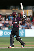 Babar Azam of Somerset raises his bat to celebrate reaching his fifty during Essex Eagles vs Somerset, Vitality Blast T20 Cricket at The Cloudfm County Ground on 7th August 2019