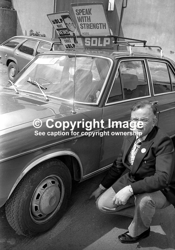 SDLP, Social Democratic &amp; Labour Party, candidate, Hugh News, points to where a bomb was placed under his car. It was defused by a British Army  bomb disposal team.  197505010263<br />
