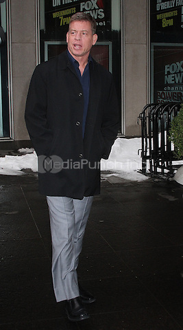 NEW YORK, NY - JANUARY 26: Troy Aikman,, former NFL quarterback for the Dallas Cowboys, spotted leaving 'FOX and Friends' in New York, New York on January 26, 2016. Photo Credit: Rainmaker Photo/MediaPunch