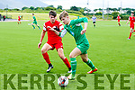 Kerry's Boki Nikic and Cork's Bryan Lynch  in the SSE Airtricity U17 League southern Elite Division kerry v Cork City at Mounthawk Park on Sunday