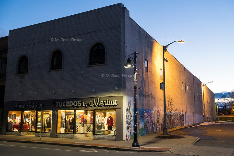 Tuxedos by Merian is one of few retail shops on Main Street in downtown Brockton, Massachusetts, USA, on Wed., March 29, 2017.