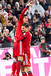 17.03.2019, Allianz Arena, Muenchen, GER, 1.FBL,  FC Bayern Muenchen vs. Mainz 05, DFL regulations prohibit any use of photographs as image sequences and/or quasi-video, im Bild Jubel nach dem Tor zum  5-0 durch James Rodriguez (FCB #11) mit Leon Goretzka (FCB #18) <br /> <br />  Foto &copy; nordphoto / Straubmeier