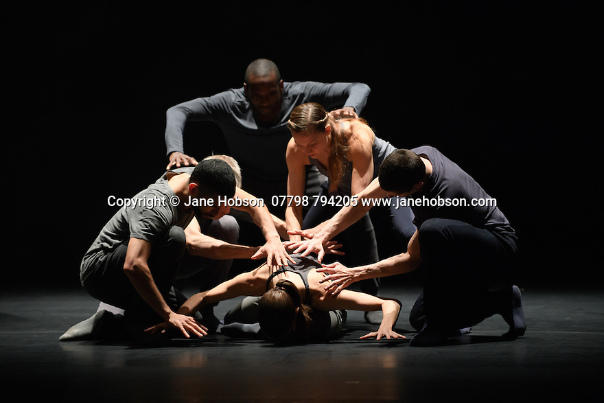 London, UK. 31.05.2016. KiddPivot/Electric Company theatre presents BETROFFENHEIT, at Sadler's Wells. the dancers are: Bryan Arias, David Raymond, Cindy Salgado, Jermaine Spivey, Tiffany Tregarthen, Jonathon Young. Photograph © Jane Hobson.