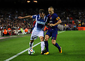 9th September 2017, Camp Nou, Barcelona, Spain; La Liga football, Barcelona versus Espanyol; Victor Sanchez holds off Andrés Iniesta