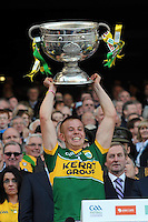 Fionn Fitzgerald lifts the Sam Maguire Cup to celebrate  Kerry's victory over Donegal in the All-Ireland Football Final against  in Croke Park 2014.<br /> Photo: Don MacMonagle<br /> <br /> <br /> Photo: Don MacMonagle <br /> e: info@macmonagle.com