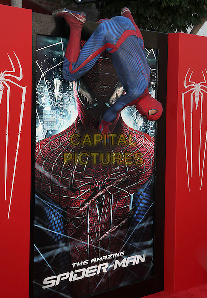 "Spider-Man.Los Angeles Premiere Of ""The Amazing Spider-Man"" Held The at Regency Village Theatre, Westwood, California, USA..June 28th, 2012.full length gv general view costume climbing gesture hanging .CAP/ADM/FS.©Faye Sadou/AdMedia/Capital Pictures."