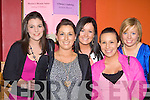 Aoife O'Hanlon, Ballymac, Sarah O'Connor Scartaglen, Maura O'Keeffe Abbeyfeale, Jennifer Leahy Abbeyfeale and Denise Kerins Ballymac enjoying the 2009 Rose of Cons in the River Island Hotel Castleisland on Friday night.
