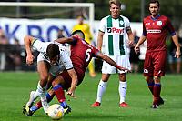 GRONINGEN - Voetbal, FC Groningen o23 - Quick Boys, derde divisie zaterdag, seizoen 2018-2019, 01-09-2018,  FC Groningen speler Thijs Dallinga in duel met Mohamed Mahmoed