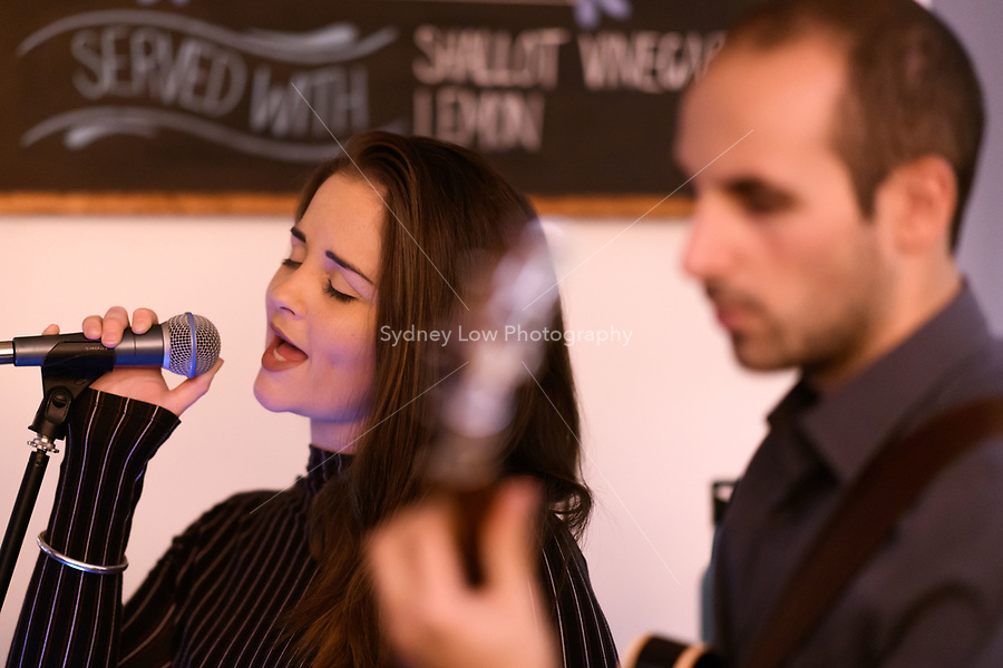 Melbourne, 9 April 2018 - Tash Weatherill & Nick Kyritsis performing at a Jazz night at Philippe restaurant in Melbourne, Australia. Photo Sydney Low