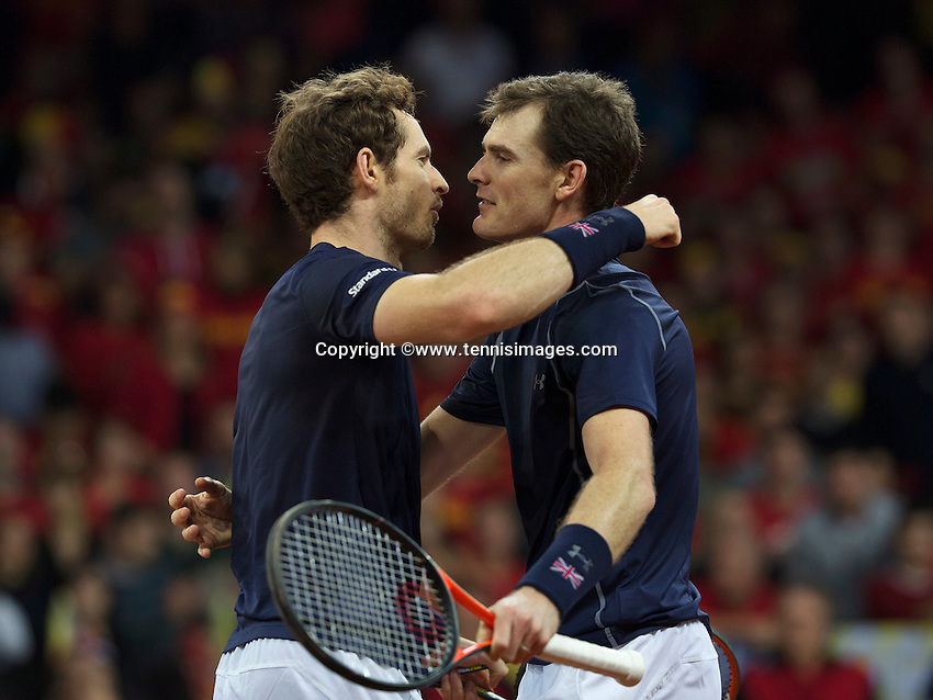 Gent, Belgium, November 28, 2015, Davis Cup Final, Belgium-Great Britain, day two, doubles match, Andy Murray (L) and Jamie Murray (GBR) embrace after defeating the Belgian doubles in 4 sets and put England in a 2-1 lead<br /> Photo: Tennisimages/Henk Koster