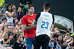 NBA brothers Juancho Hernangomez and Willy Hernangomez during Turkish Airlines Euroleague Quarter Finals 3rd match between Real Madrid and Panathinaikos at Wizink Center in Madrid, Spain. April 25, 2018. (ALTERPHOTOS/Borja B.Hojas)