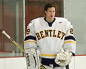 Blake Dougherty (Bentley - 29) - The Bentley University Falcons defeated the visiting Robert Morris University Colonials 2-1 on Friday, January 6, 2012, at the John A. Ryan Skating Arena in Watertown, Massachusetts.