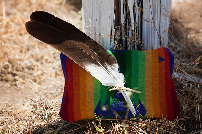 After a wedding ceremony, a Klamath bride and groom  will tie two eagle feathers together that is a symbol of their vows for a long and happy marriage.