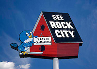 See Rock City sign for the rock formations trails near Chattanooga, Tennessee.