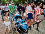 Zombie Walk Seoul, Oct 17, 2015 : People attend Zombie Walk Seoul in central Seoul, South Korea. (Photo by Lee Jae-Won/AFLO) (SOUTH KOREA)
