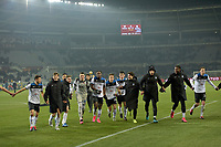 25th January 2020; Olympic Grande Torino Stadium, Turin, Piedmont, Italy; Serie A Football, Torino versus Atalanta; Atalanta players celebrate at the end of the match after their victory of 0-7 over Torino FC