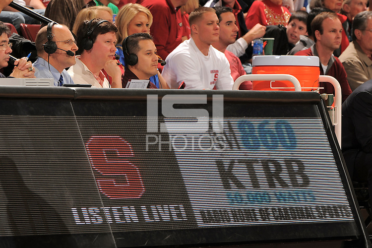 Stanford, CA - DECEMBER 28:  Radio broadcasters John Platz and Dave Flemming of the Stanford Cardinal during Stanford's 111-66 win against the Texas Tech Red Raiders on December 28, 2008 at Maples Pavilion in Stanford, California.