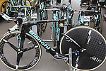 Bianchi Aquila Lotto NL-Jumbo time trial bike before Stage 1, a 14km individual time trial around Dusseldorf, of the 104th edition of the Tour de France 2017, Dusseldorf, Germany. 1st July 2017.<br /> Picture: Eoin Clarke | Cyclefile<br /> <br /> <br /> All photos usage must carry mandatory copyright credit (&copy; Cyclefile | Eoin Clarke)