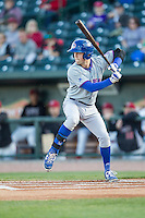 South Bend Cubs shortstop Andrew Ely (8) at bat against the Great Lakes Loons on May 18, 2016 at Dow Diamond in Midland, Michigan. Great Lakes defeated South Bend 5-4. (Andrew Woolley/Four Seam Images)