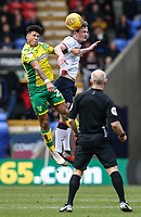 Bolton Wanderers' Callum Connolly competing with Norwich City's Onel Hernandez  <br /> <br /> Photographer Andrew Kearns/CameraSport<br /> <br /> The EFL Sky Bet Championship - Bolton Wanderers v Norwich City - Saturday 16th February 2019 - University of Bolton Stadium - Bolton<br /> <br /> World Copyright © 2019 CameraSport. All rights reserved. 43 Linden Ave. Countesthorpe. Leicester. England. LE8 5PG - Tel: +44 (0) 116 277 4147 - admin@camerasport.com - www.camerasport.com