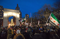 NEW YORK,NY December 16,2016: People stand for Aleppo during a vigil to protest against the Syrian government and the killing of innocent people in Washington Square Park, in New York City, December  16,2016. Photo by VIEWpress/Maite H. Mateo