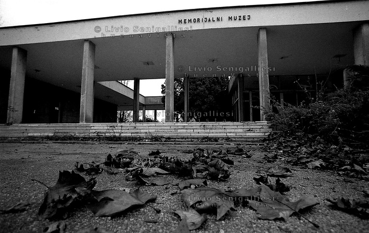 Jasenovac / Croatia.Entry of the Museum of Holocaust in Jasenovac, the place where Ustasha pro-nazi regime run a terrible concentration and extermination camp during the second world war..Most of the prisoners of the camp were serbs, roma and jews. .Photo Livio Senigalliesi
