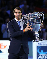 Rafael Nadal with the ATP World No.1 Award<br /> <br /> Photographer Rob Newell/CameraSport<br /> <br /> International Tennis - Barclays ATP World Tour Finals - O2 Arena - London - Day 1 - Sunday 12th November 2017<br /> <br /> World Copyright &copy; 2017 CameraSport. All rights reserved. 43 Linden Ave. Countesthorpe. Leicester. England. LE8 5PG - Tel: +44 (0) 116 277 4147 - admin@camerasport.com - www.camerasport.com