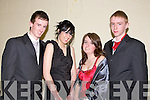 DRESSED TO IMPRESS: Jamie Quirke, Kayrena Fitzgerald, Kathryn Woodley and Adam Lynch students from Mean Scoil an Leith Triuigh, Castlegregory dress up for their big night out in the Abbeygate Hotel i Tralee for their Debs on Friday night.