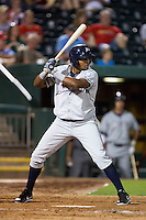 Jorge Bonifacio (16) of the Northwest Arkansas Naturals stands at bat during a game against the Springfield Cardinals at Hammons Field on August 20, 2013 in Springfield, Missouri. (David Welker/Four Seam Images)