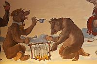 Europe/Suisse/Saanenland/Gstaad/Sannemöser: Restaurant: Bärengraben, au Golfhotel les Hauts de Gstaad, la taverne de l'ours, les fresques sur le thème de l'ours