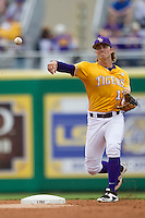 LSU Tigers second baseman Jared Foster (17) makes a throw to first base during the Southeastern Conference baseball game against the Texas A&M Aggies on April 25, 2015 at Alex Box Stadium in Baton Rouge, Louisiana. Texas A&M defeated LSU 6-2. (Andrew Woolley/Four Seam Images)