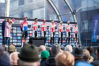 Team Corendon Circus  pre race team presentation with Mathieu Van der Poel (NED/Corendon Circus)<br /> <br /> <br /> 82nd Gent – Wevelgem in Flanders Fields 2019 (1.UWT)<br /> Deinze – Wevelgem: 251,5km<br /> ©kramon