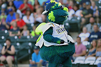 Mascot Mason of the Columbia Fireflies in a game against the Lexington Legends on Saturday, April 22, 2017, at Spirit Communications Park in Columbia, South Carolina. Lexington won, 4-0. (Tom Priddy/Four Seam Images)