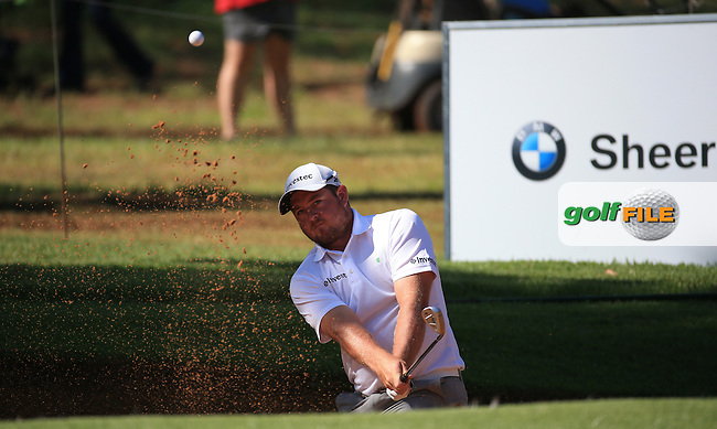 Merrick Bremner (RSA) in bunker action on the 17th during the completion of Round Two of the 2016 BMW SA Open hosted by City of Ekurhuleni, played at the Glendower Golf Club, Gauteng, Johannesburg, South Africa.  09/01/2016. Picture: Golffile | David Lloyd<br /> <br /> All photos usage must carry mandatory copyright credit (&copy; Golffile | David Lloyd)