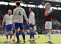 Burnley's Ben Mee rues a missed opportunity during the second half <br /> <br /> Photographer Rich Linley/CameraSport<br /> <br /> The Premier League - Saturday 13th April 2019 - Burnley v Cardiff City - Turf Moor - Burnley<br /> <br /> World Copyright © 2019 CameraSport. All rights reserved. 43 Linden Ave. Countesthorpe. Leicester. England. LE8 5PG - Tel: +44 (0) 116 277 4147 - admin@camerasport.com - www.camerasport.com
