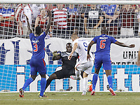 Foxborough, Massachusetts - July 10, 2015: In 2015 CONCACAF Gold Cup Group A match, USA (white) defeated Haiti (blue), 1-0, at Gillette Stadium.<br /> Disallowed goal.