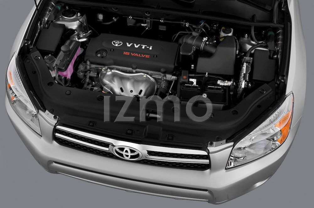 High angle engine detail of 2008 Toyota Rav4 Limited SUV Stock Photo