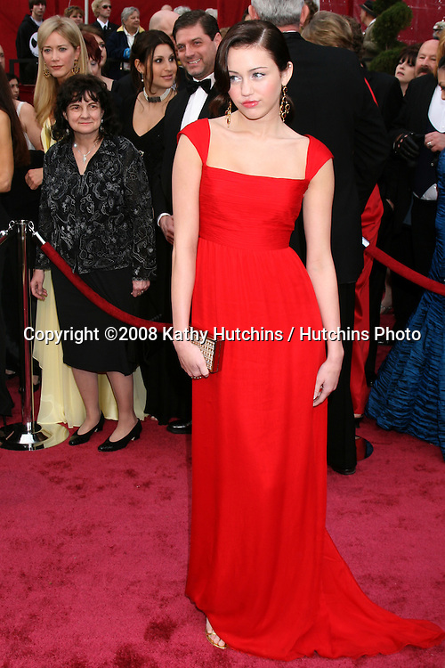 Miley Cyrus .80th Academy Awards ( Oscars).Kodak Theater.Los Angeles, CA.February 24, 2008.©2008 Kathy Hutchins / Hutchins Photo.