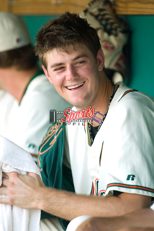 Greensboro starting pitcher Brett Sinkbeil shares a laugh in the dugout between innings of his first South Atlantic League start versus Lakewood at First Horizon Park in Greensboro, NC, Monday, July 17, 2006.  Sinkbeil was the Marlins first round selection (19th overall) in the 2006 Amateur Draft.