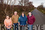Glencuttane Residents want the section of main road from Killorglin to Glencar to be fixed. Pictured Shania O'Sullivan, Neily Breen, Geraldine O'Sullivan and John Frances Flynn in Glencuttane last Thursday.