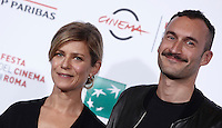 "Il regista e l'attrice francesi Sébastien Marnier e Marina Fois posano durante un photocall per la presentazione del film ""Irréprochable"" al Festival Internazionale del Film di Roma, 17 ottobre 2016.<br /> French director and actress Sébastien Marnier and Marina Fois pose for a photocall to present the movie ""Irréprochable"" during the international Rome Film Festival at Rome's Auditorium, 17 October 2016.<br /> UPDATE IMAGES PRESS/Isabella Bonotto"