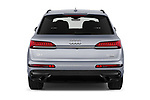 Straight rear view of 2020 Audi Q7 S-Line 5 Door SUV Rear View  stock images