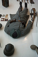 The uniforms and equipment of a German soldier of World War I are on display at L'Historial de la Grande Guerre in Peronne, La Somme, France, August 17, 2014, 2014 marks 100th anniversary of the Great War.