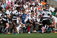 Twickenham, England, 27th May 2018. Quilter Cup, Rugby, Baa Baa's, Chris ASHTON. passes the ball fro a crowded area of play, during the England vs Barbarians, Rugby Match, at the RFU. Stadium, Twickenham. UK.  <br /> <br /> &copy; Peter Spurrier/Alamy Live News