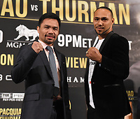 "BEVERLY HILLS - MAY 22: Eight-division world champion, Manny ""Pac Man"" Pacquiao and unbeaten WBA Welterweight World Champion Keith ""One Time"" Thurman attend a press conference on May 22 in Beverly Hills, California for their Premier Boxing Champions on FOX Sports Pay-Per-View event on Saturday July 20 in Las Vegas. (Photo by Frank Micelotta/Fox Sports/PictureGroup)"