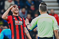 Dan Gosling of AFC Bournemouth gets animated in a discussion with Referee Kevin Friend  during AFC Bournemouth vs Arsenal, Premier League Football at the Vitality Stadium on 14th January 2018