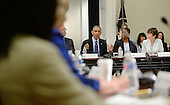 United States President Barack Obama attends a meeting of the President's Export Council in the Eisenhower Executive Office Building of the White House, June 19, 2014 in Washington, DC. The President's Export Council advises the President on policies and programs that affect U.S. trade performance and promote export expansion.  From left to right: W. James McNerney, Jr., Chairman and CEO of The Boeing Company; President Obama; Ursula M. Burns, Chairman and CEO of Xerox; and Valerie Jarrett, Senior Advisor and Assistant to the President for Intergovernmental Affairs and Public Engagement.<br /> Credit: Olivier Douliery / Pool via CNP