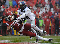 NWA Media/ J.T. Wampler -Arkansas' Keon Hatcher scores a first quarter touchdown against Ole Miss Saturday Nov. 22, 2014.