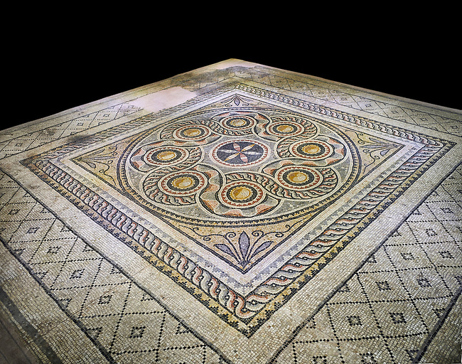 Roman mosaics - Geometric Mosaic. Dionysus Villa Ancient Zeugama, 2nd - 3rd century AD . Zeugma Mosaic Museum, Gaziantep, Turkey.   Against a black background.